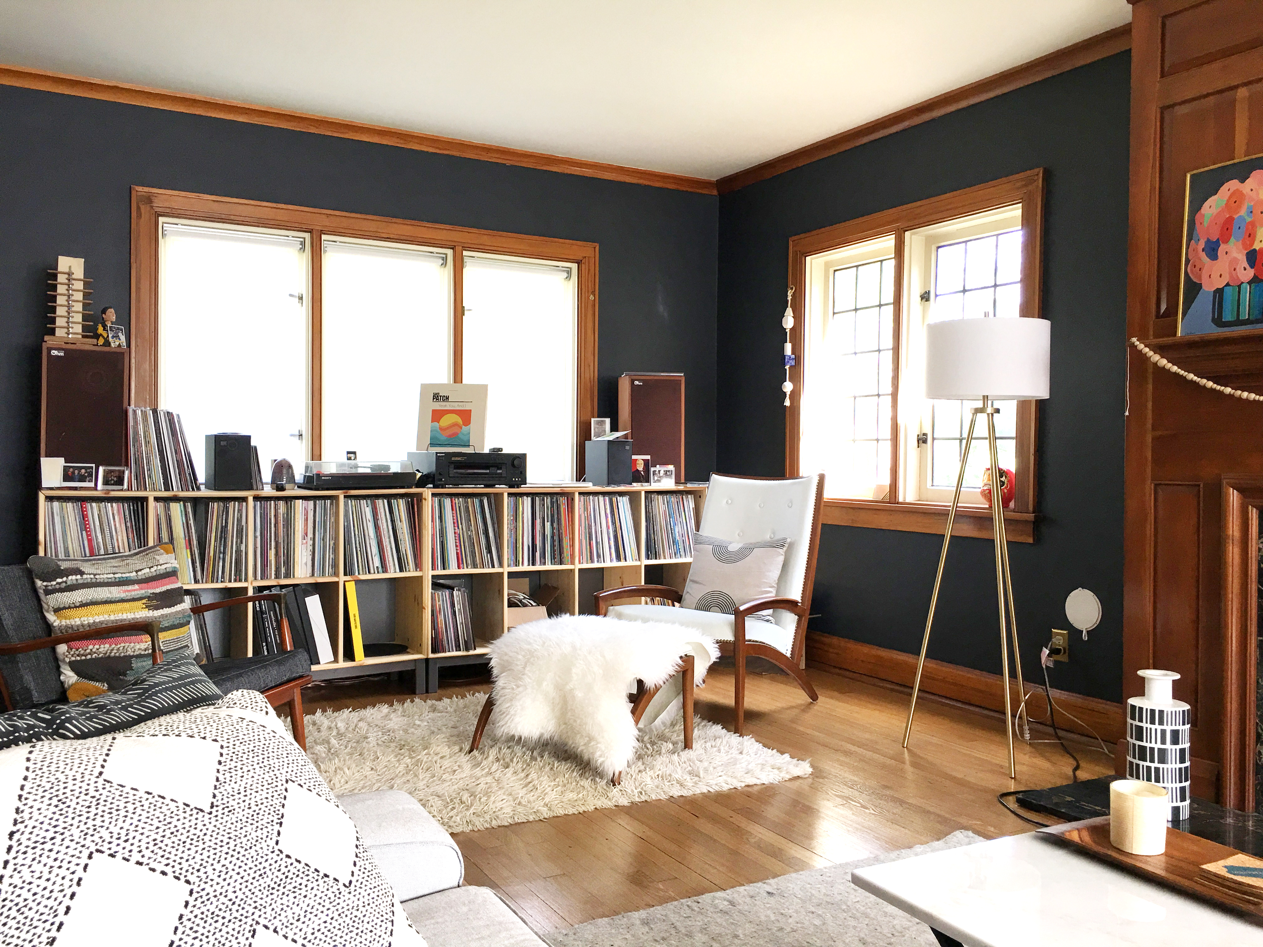 Pairing A Neutral Rug With Moody Walls The Sweet Beast Rewiring An Old House Plaster At Other End Of Living Room Is Andys Record Collection And Listening Nook In Our Apartment His Was Kept Dining