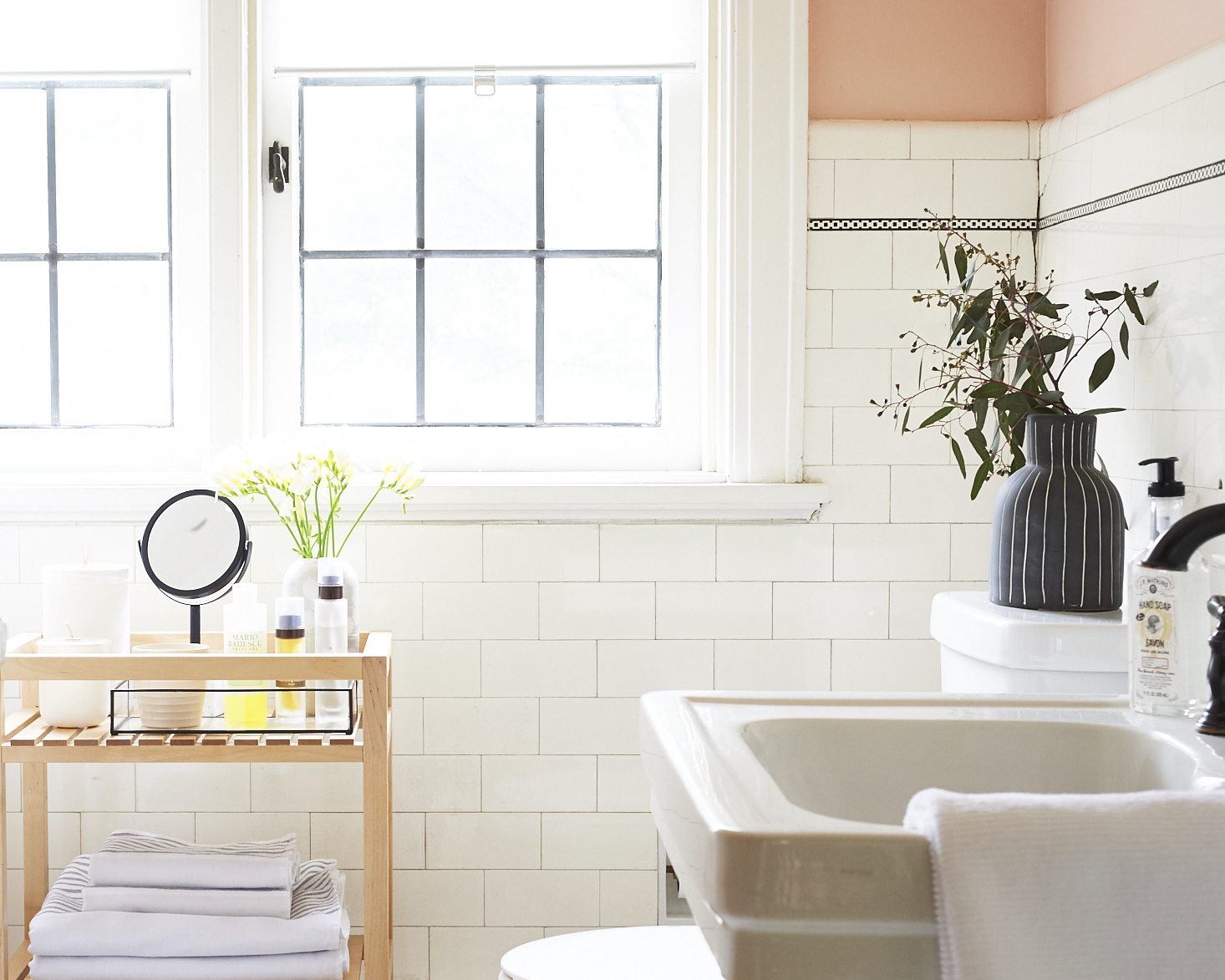 Classic blush bathroom with Serena & Lily Towels
