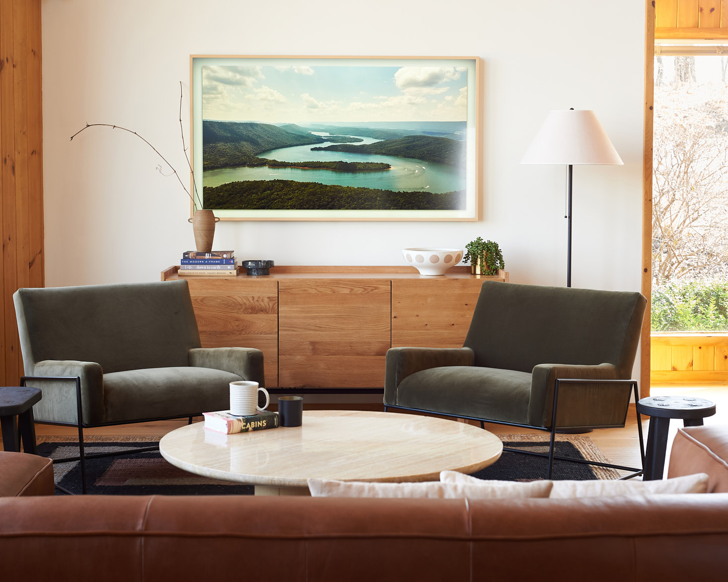 Living Room with Article Madera Sideboard and Regis Chairs