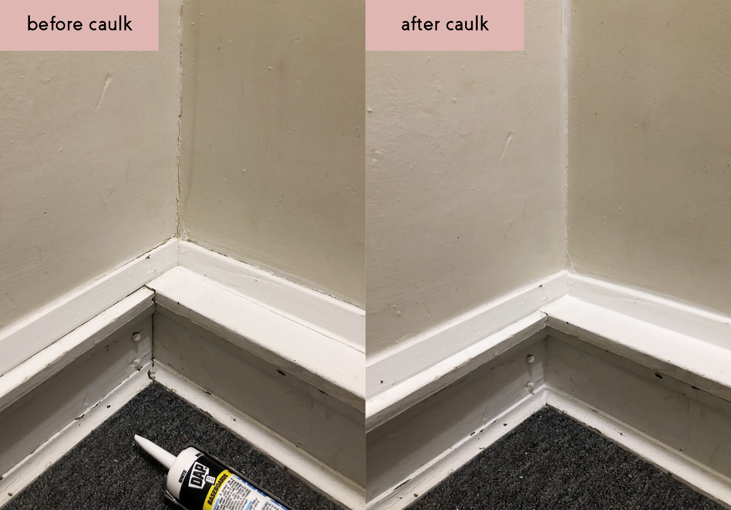 Basement Stairway Project - Painters Caulk Before and After