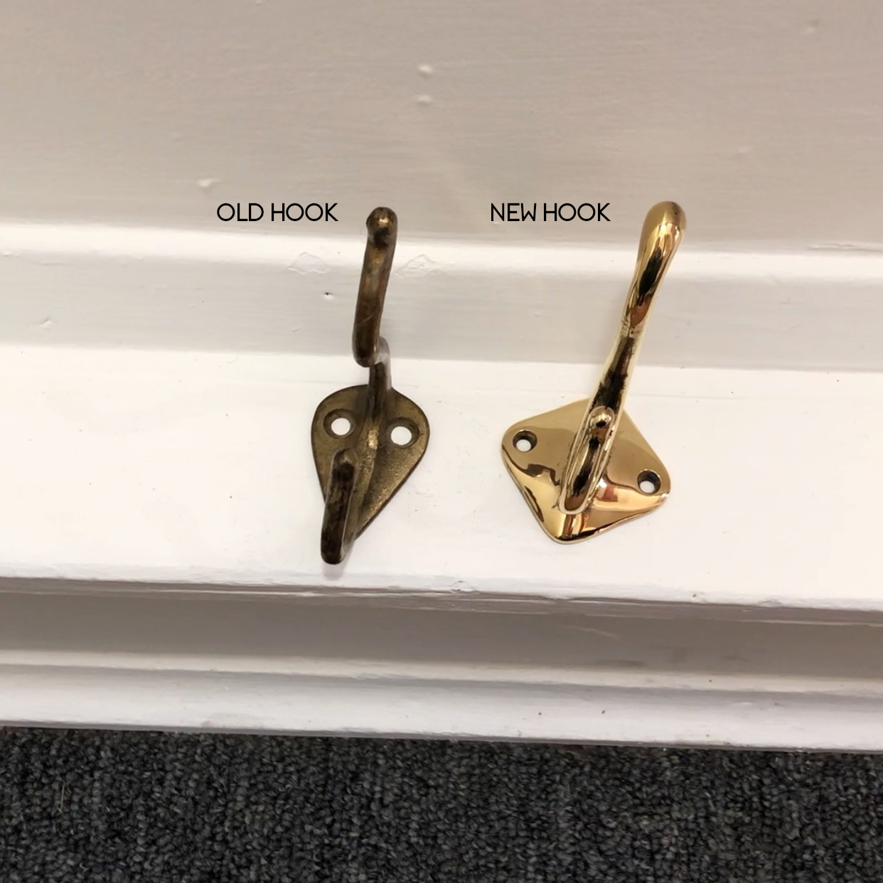 Brass Patina Hook vs. New Brass Hook
