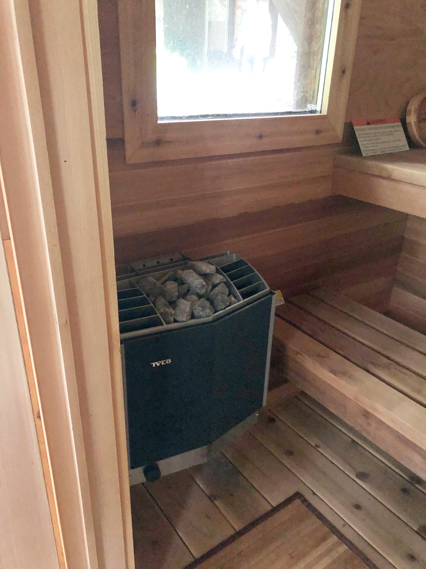 Tylo heater in outdoor sauna