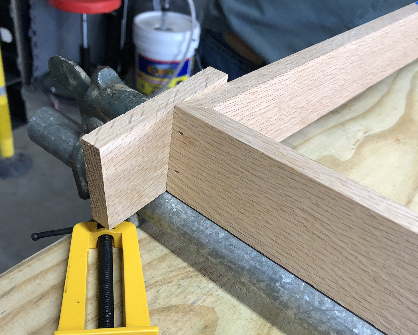 Detail of nail holes at bottom of frame