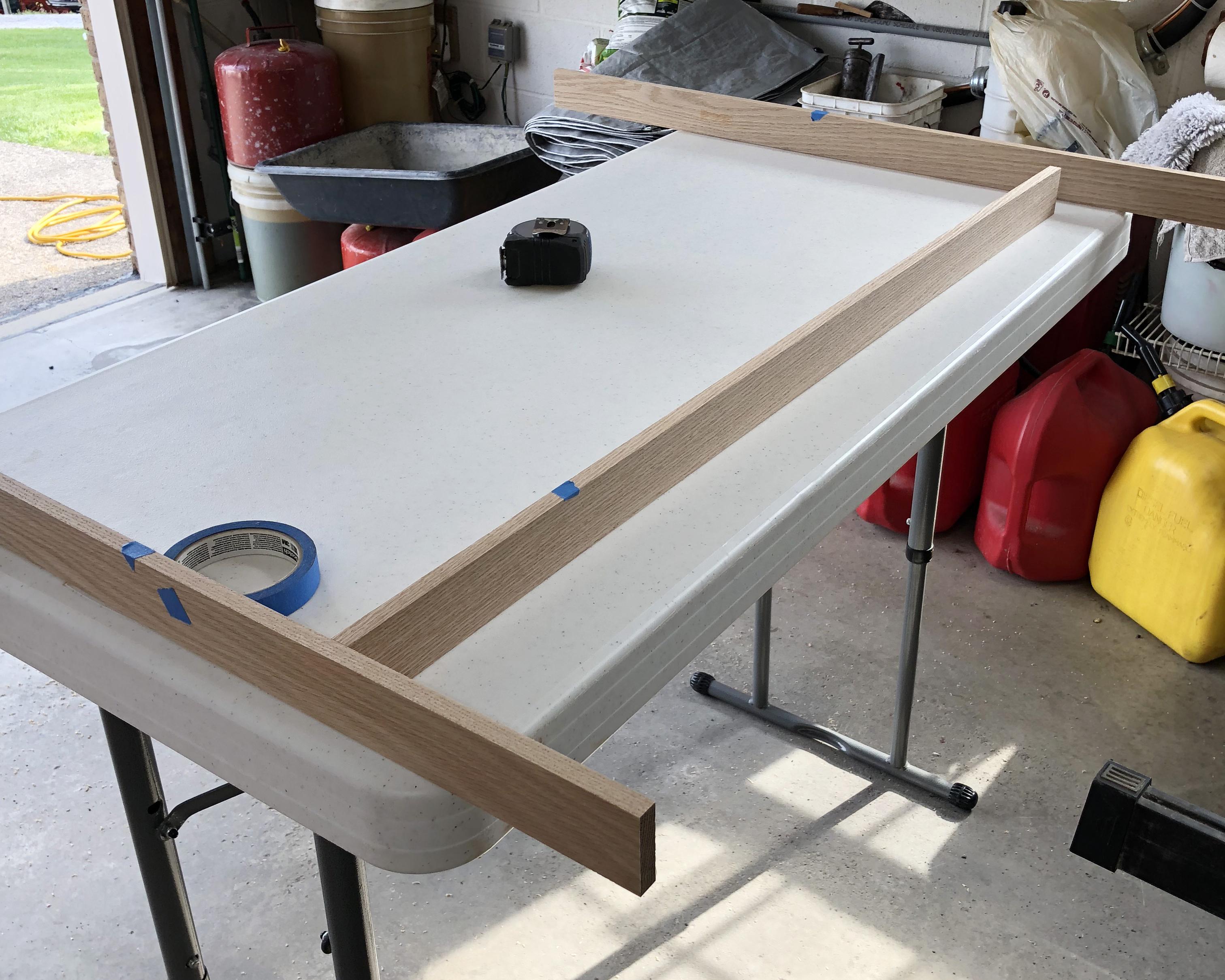Marking the best edges of the oak planks