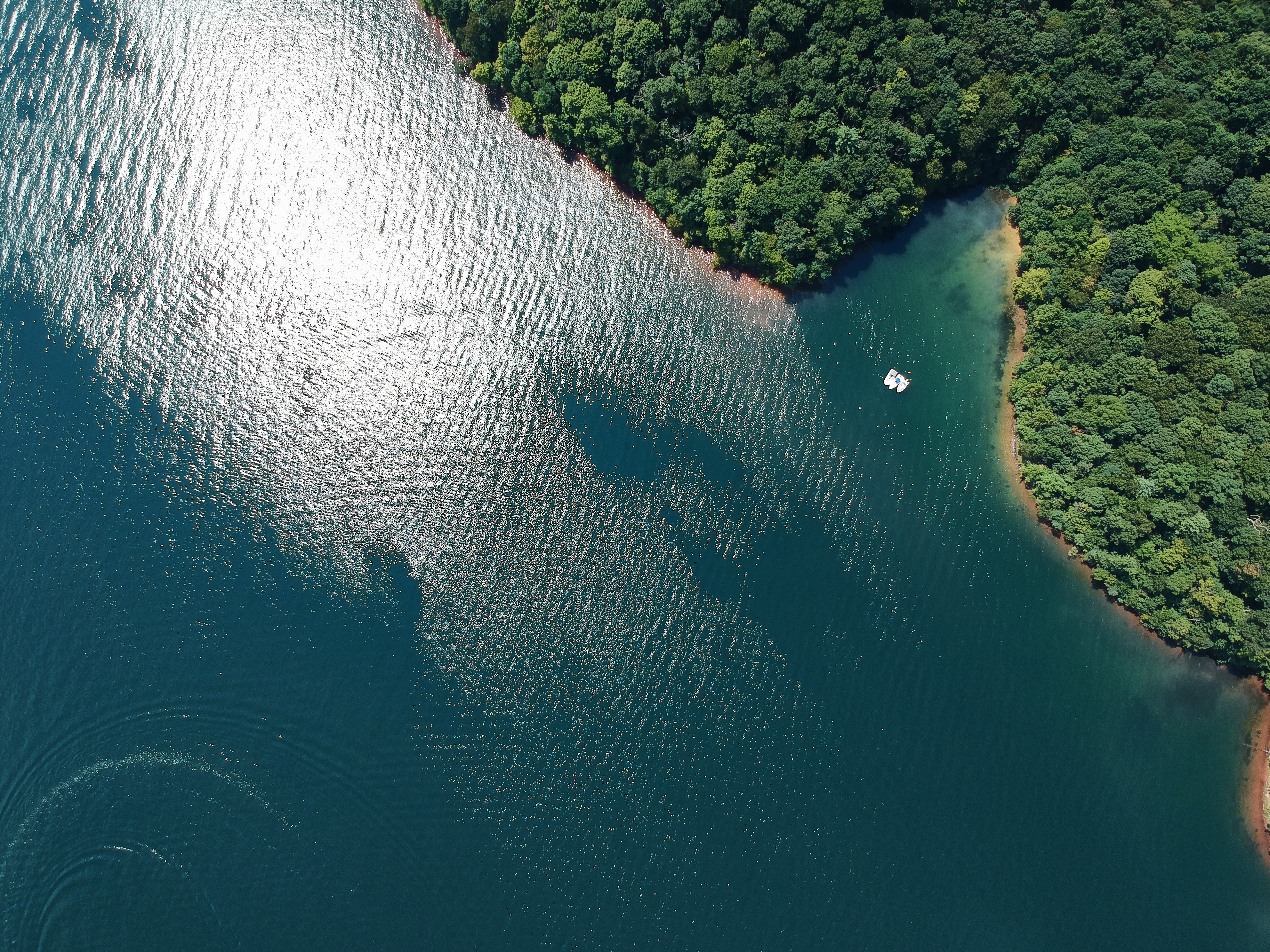 Aerial view of wilderness lake