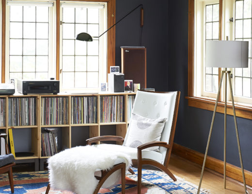 Record Shelves with Vintage Rug