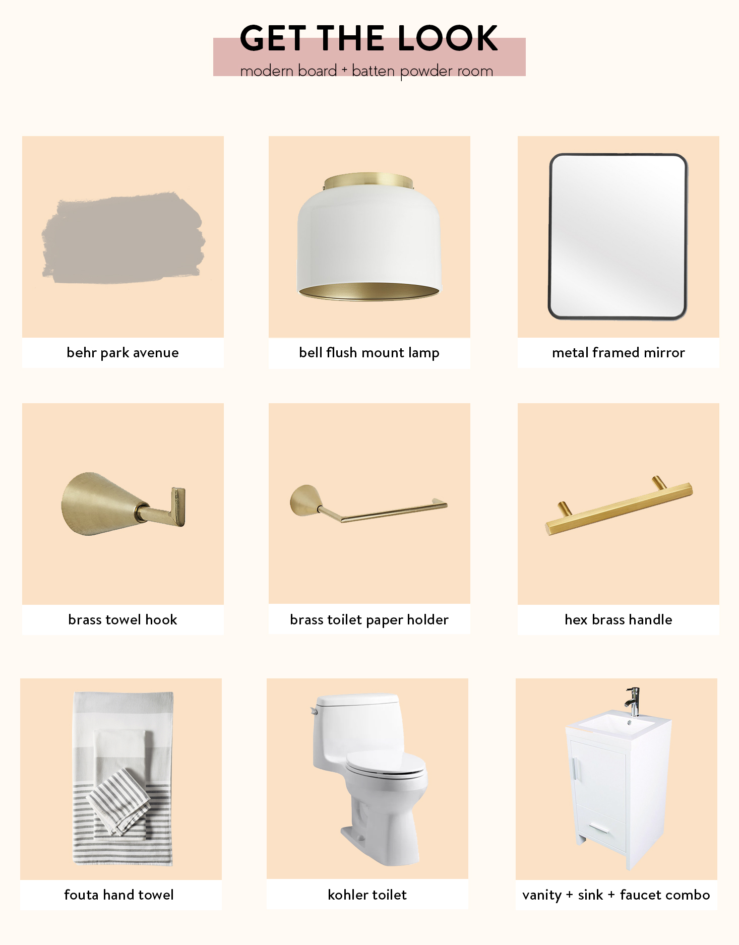 Get the Look - Modern Board + Batten Powder Room | The Sweet Beast Blog