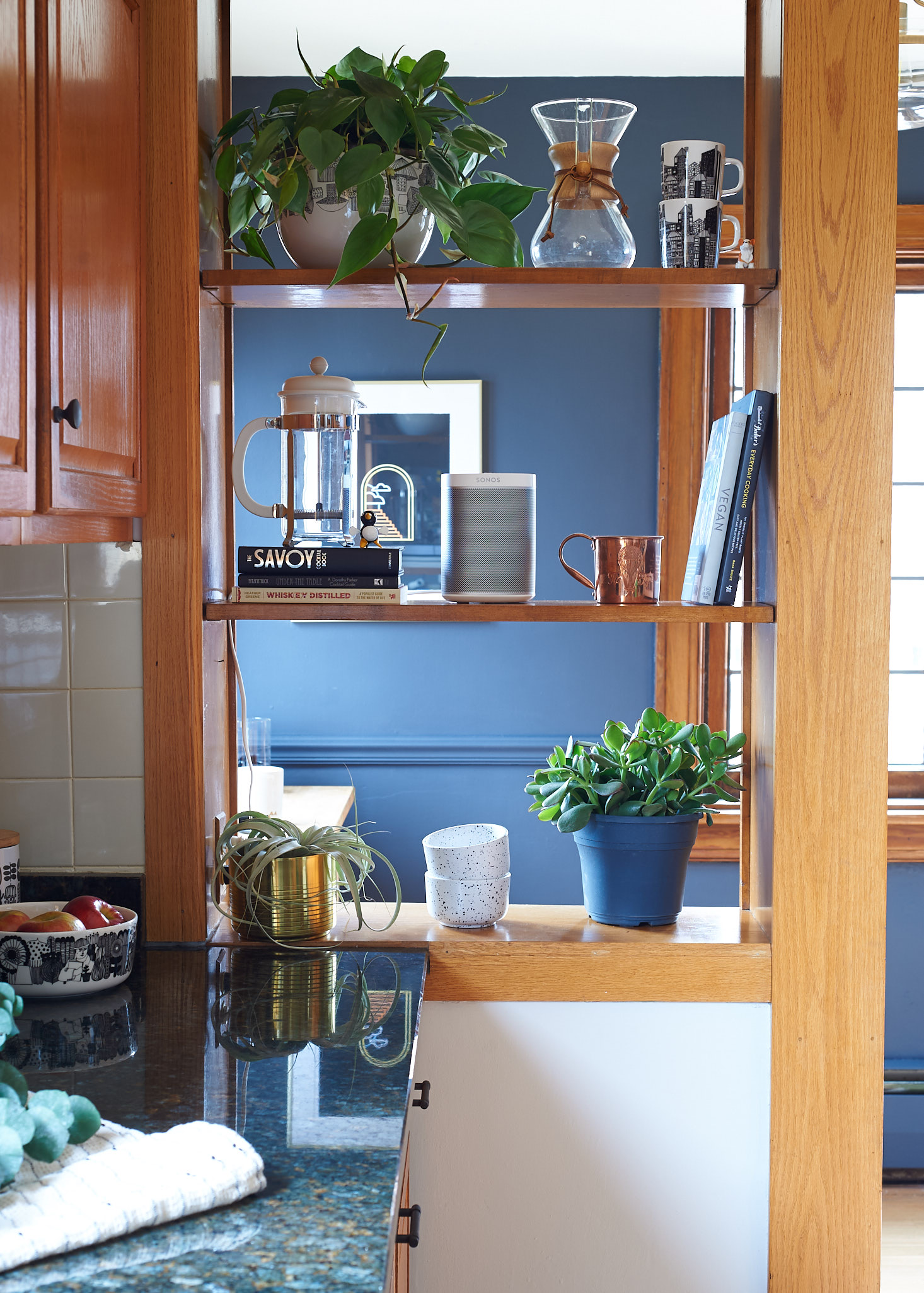 Oak Cabinets Granite Countertops Plants