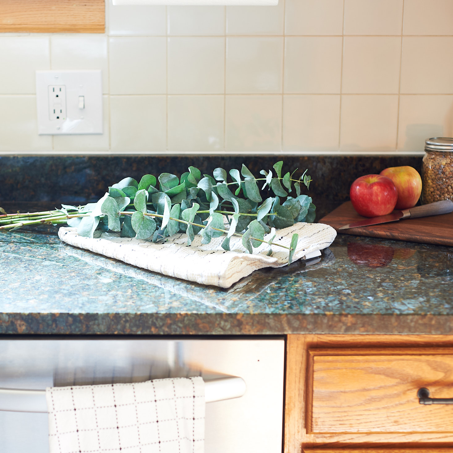 Eucalyptus Tea Towel Granite Countertops