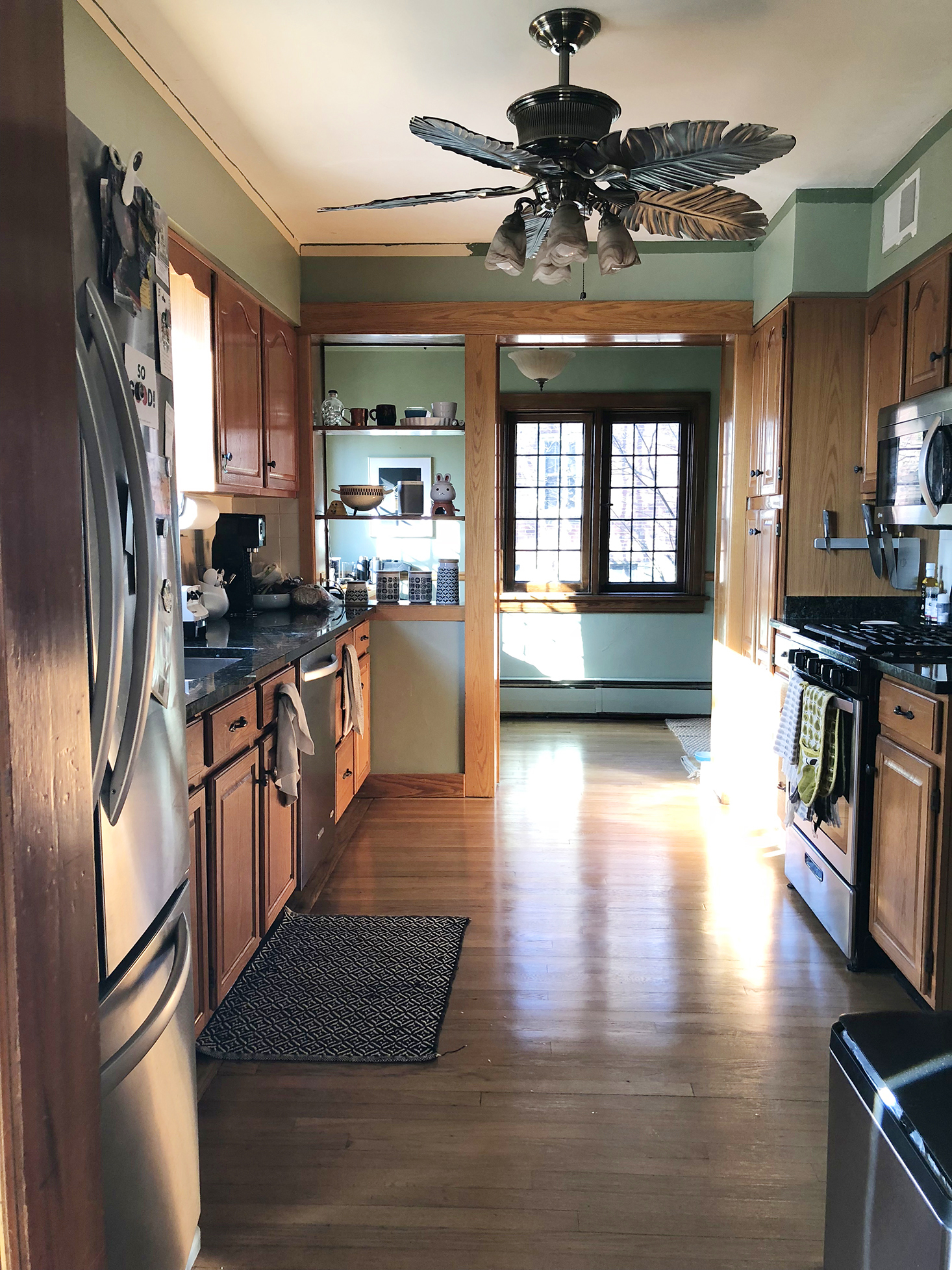 kitchen facelift before outdated giant fan
