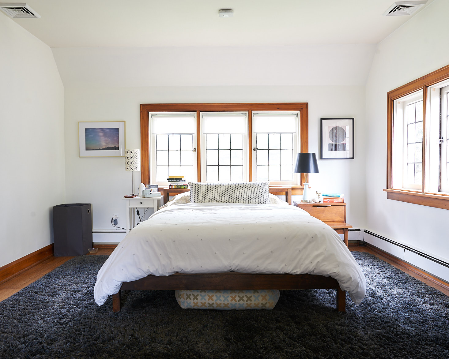 White wall master bedroom mid century