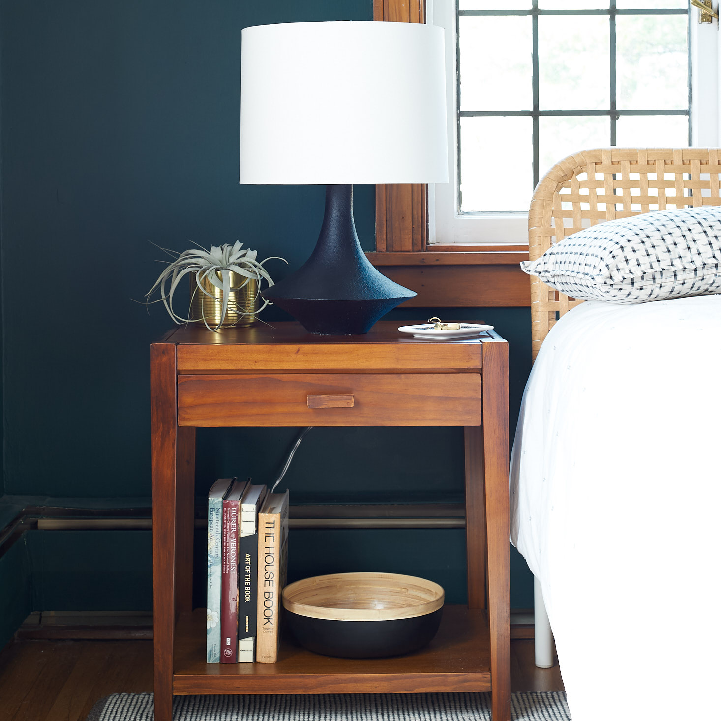 Dark green bedroom midcentury lamp nightstand