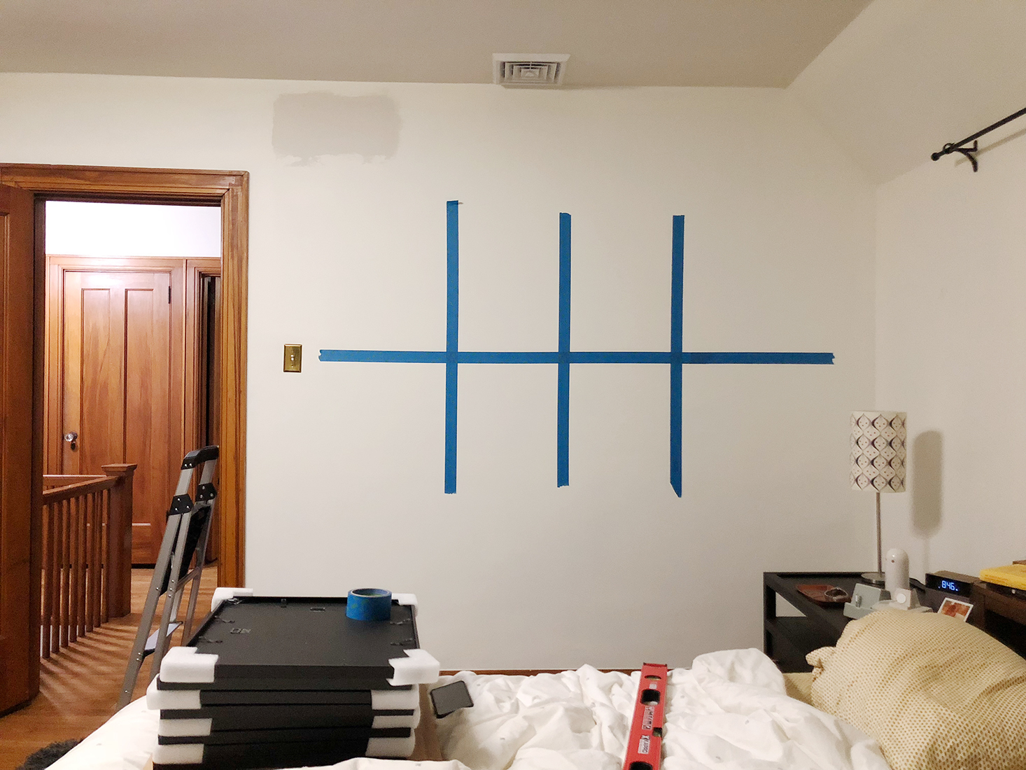 How to plan a gallery grid with painters tape
