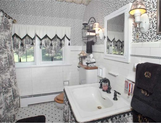 A bathroom with too much pattern
