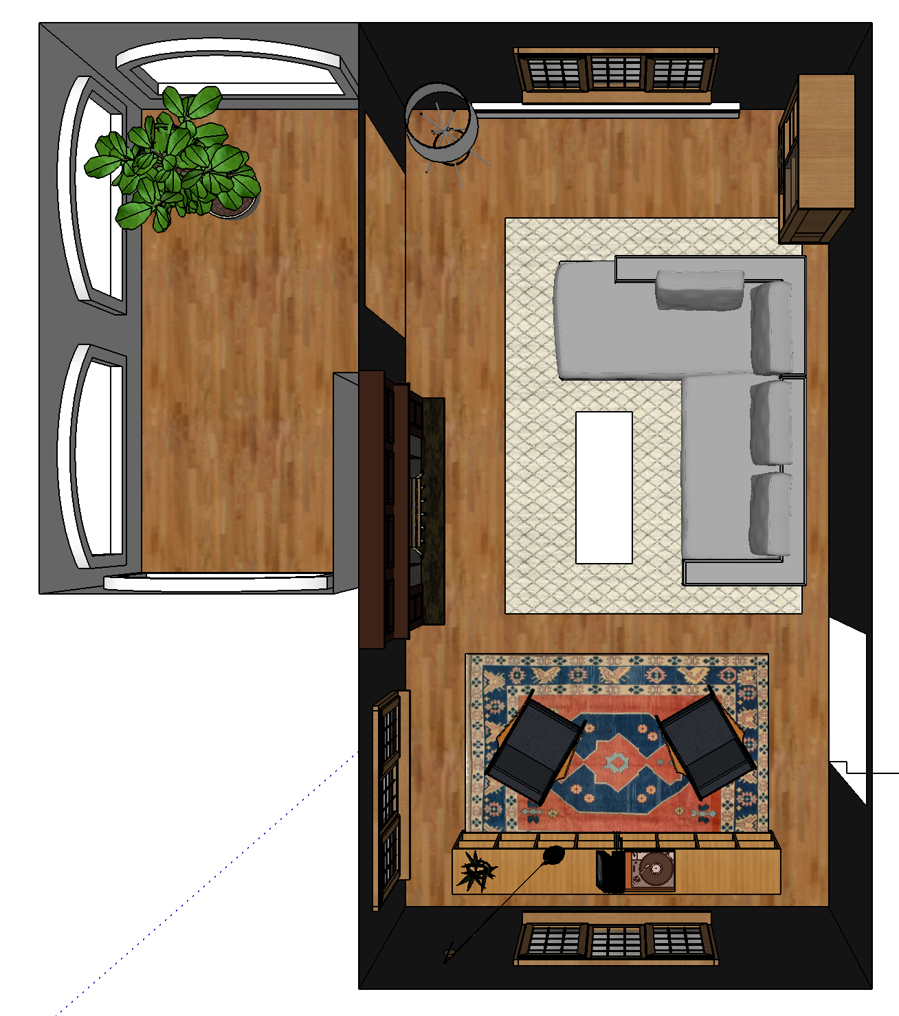 Living Room SketchUp Overhead