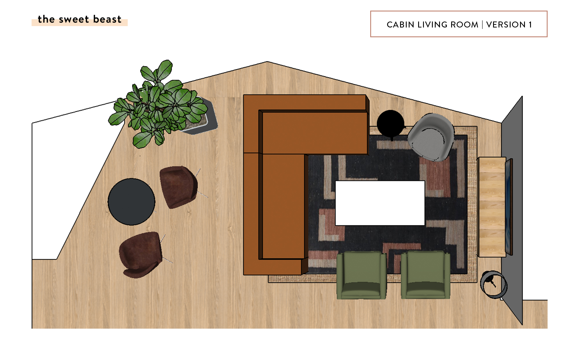 Cabin Living Room SketchUp Layout