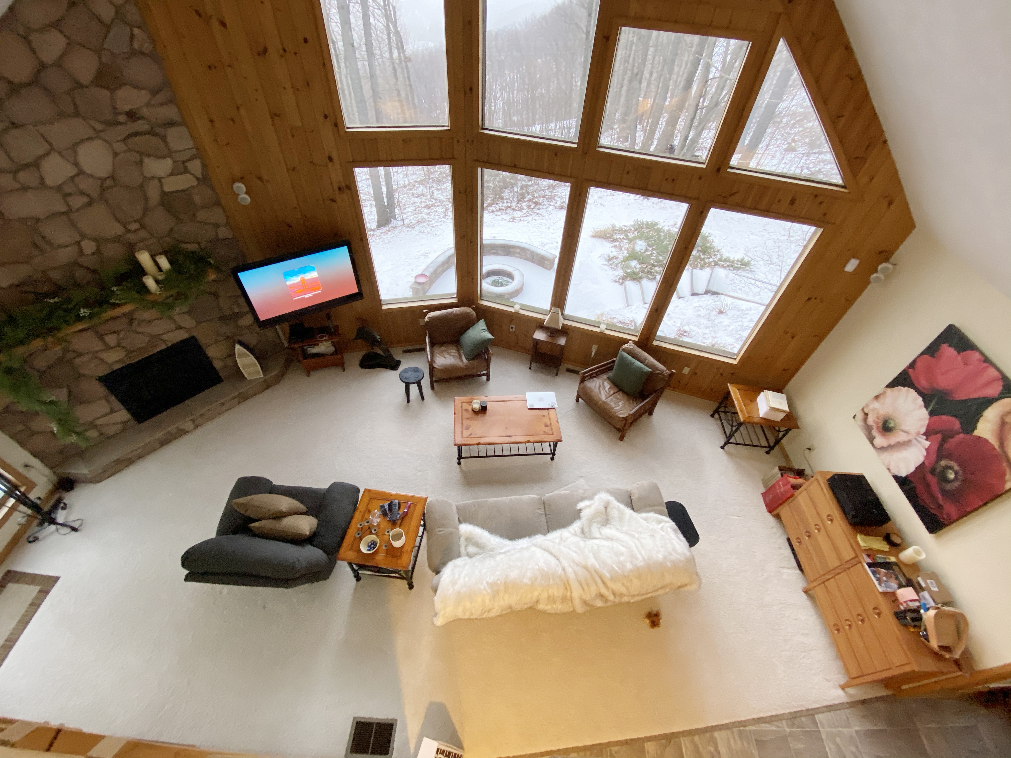 Cabin living room view from above.