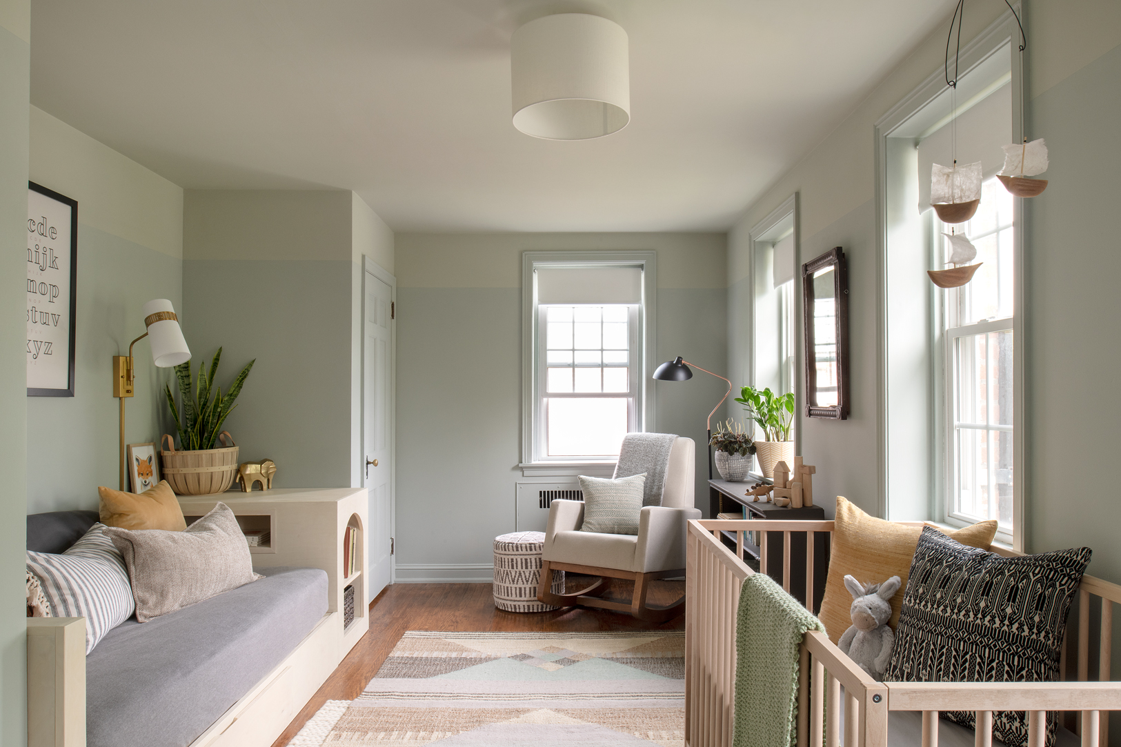 Serene Green Nursery with Custom Day Bed | Vestige Home