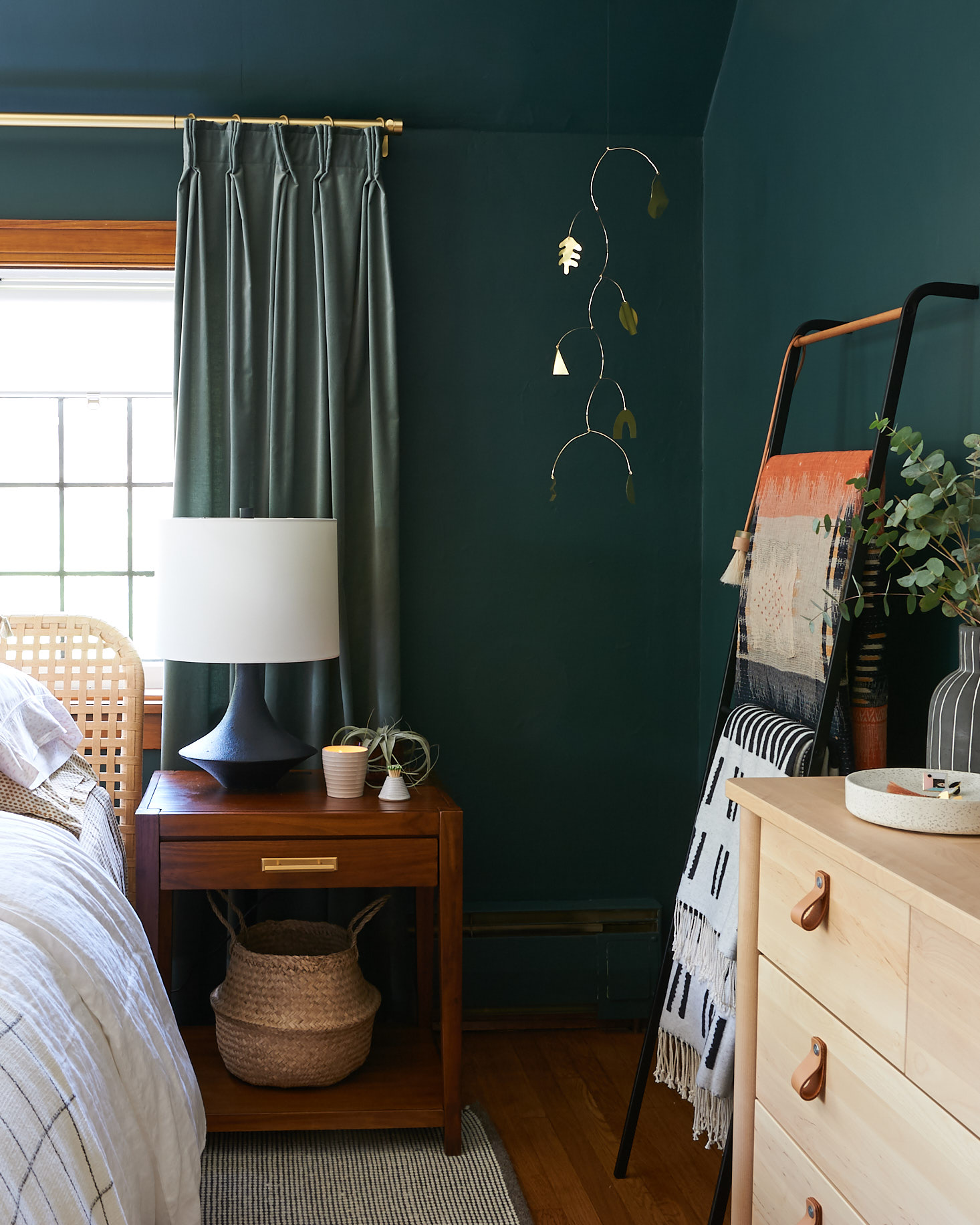Moody Green Bedroom Walls with Blanket Ladder