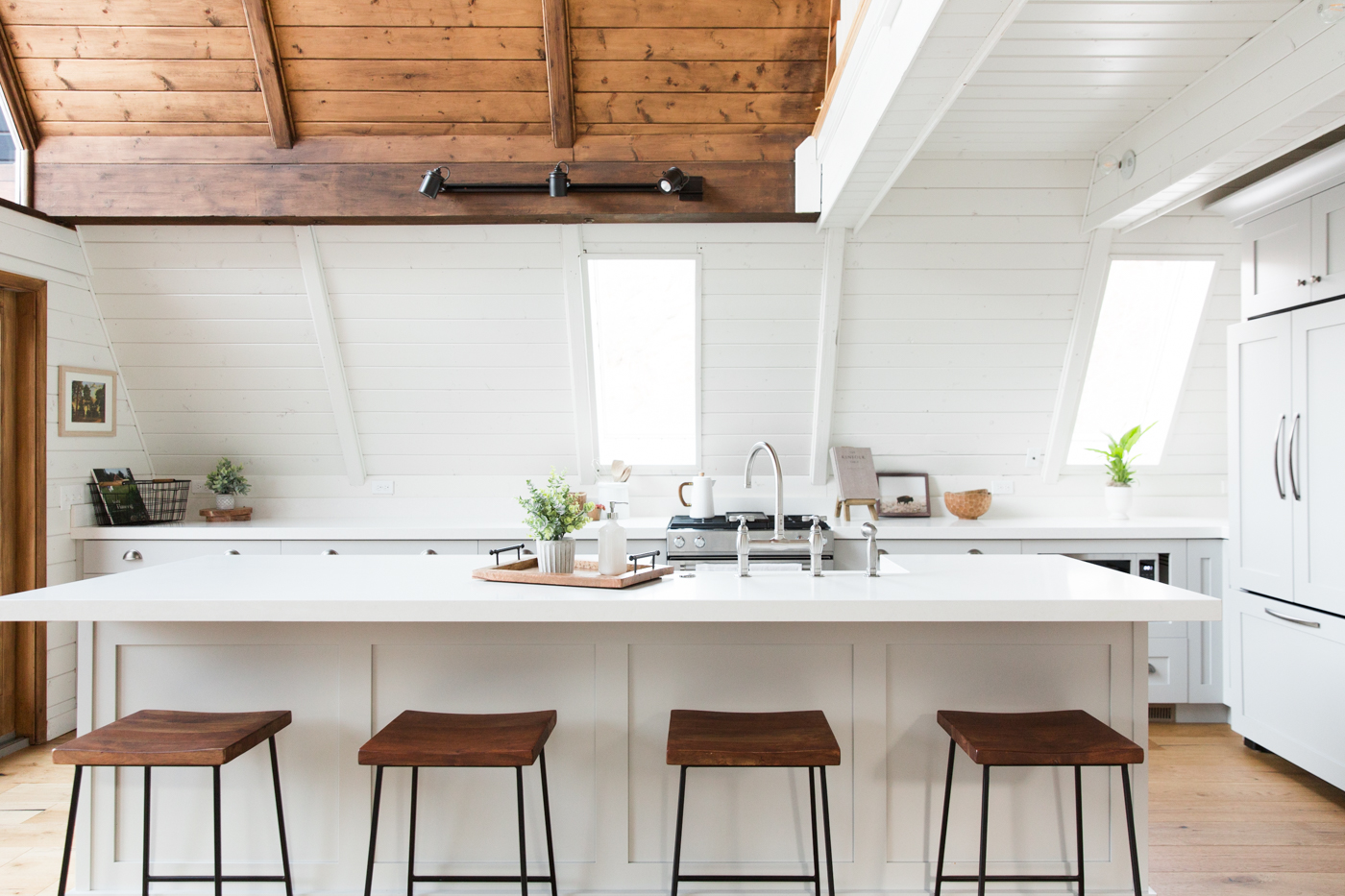 White a-frame kitchen