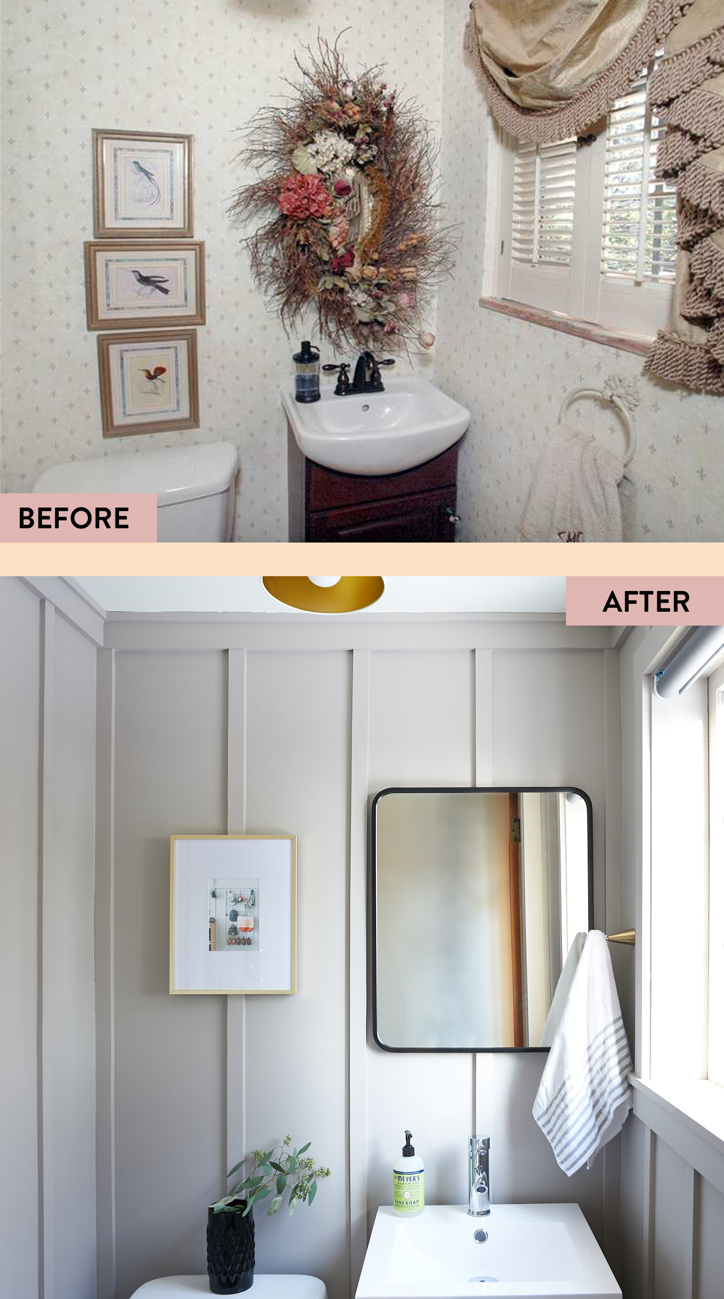 Vertical Board and Batten Powder Room Before and After | The Sweet Beast Blog