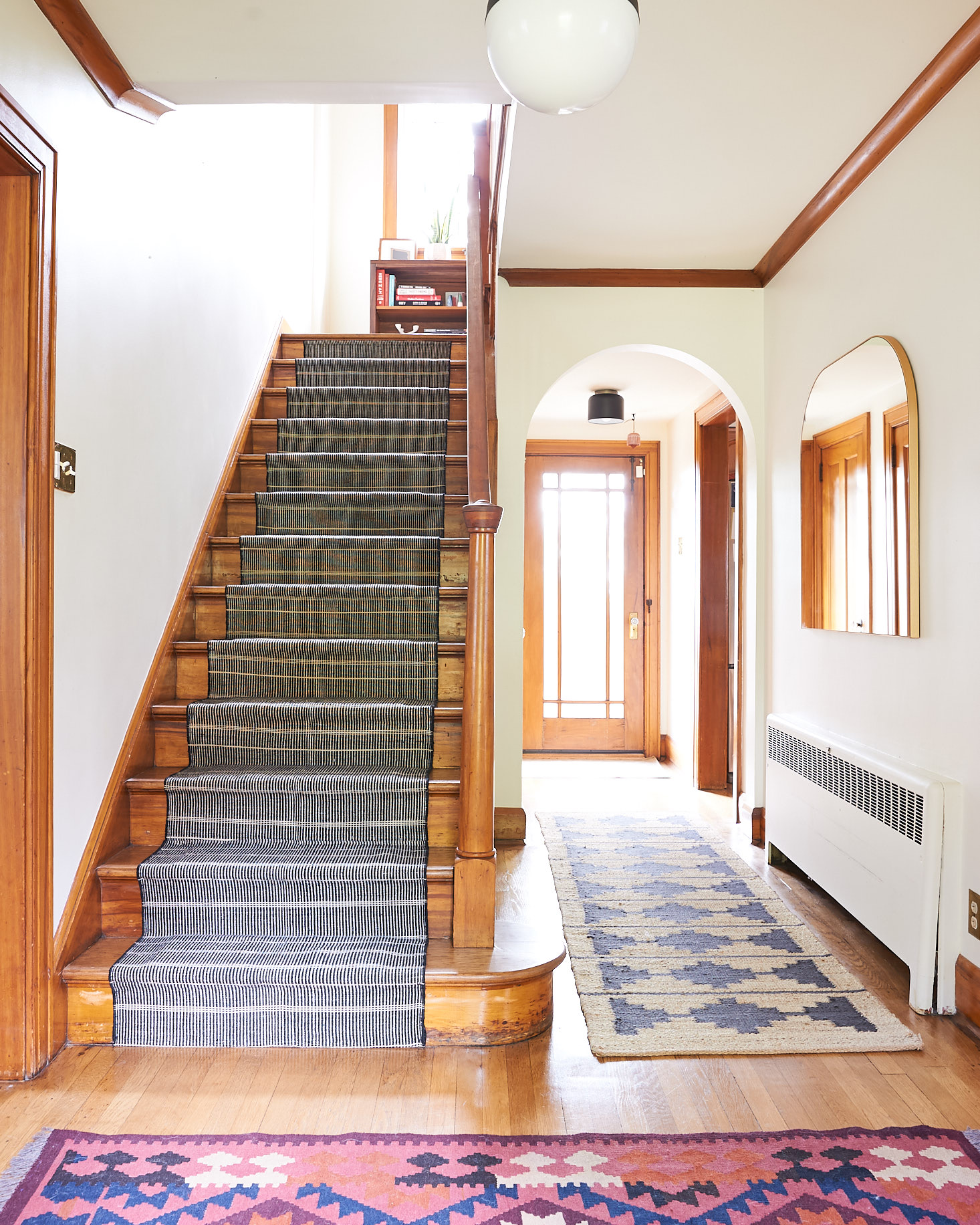 Wood stairs with stair runner