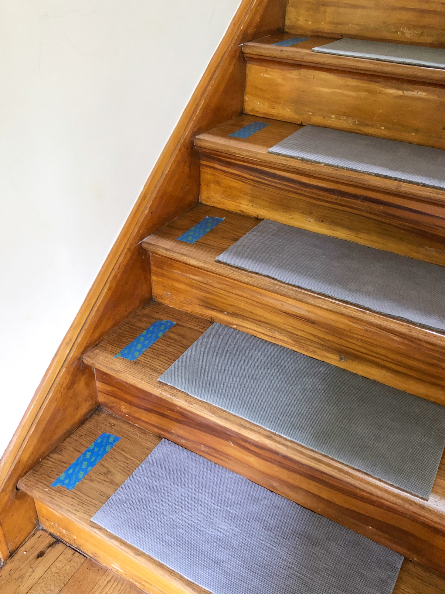 Wood steps with carpet padding