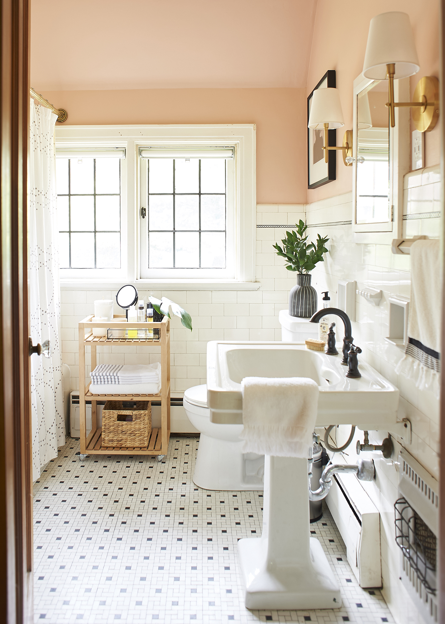 Full shot of blush bathroom