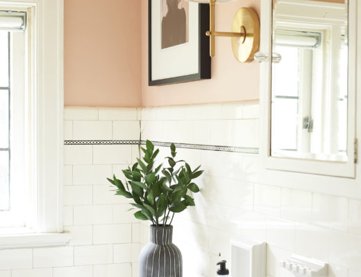 corner view of blush bathroom